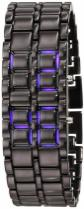 GGI International Men's MLed-Lava-BB Black Stainless Steel and Lava Blue LED Digital Bracelet Watch